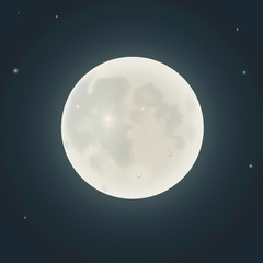 Realistic moon. Vector illustration