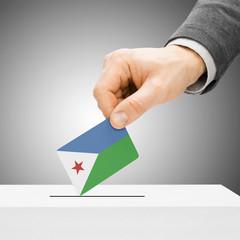 Voting concept - Male inserting flag into ballot box - Djibouti