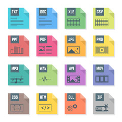 vector various flat design color file formats icons symbols