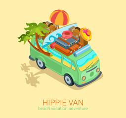 Hippie van travel beach adventure vacation flat 3d web isometric