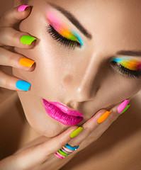 Foto op Canvas Beauty Beauty girl portrait with vivid makeup and colorful nailpolish