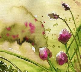 Printed kitchen splashbacks Painterly Inspiration pink, weeds, thistles, forestry, clover,