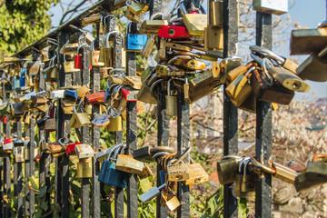 Love locks on the Upper town in Zagreb, Croatia