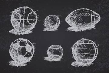 Ball sketch set with shadow on the ground on blackboard