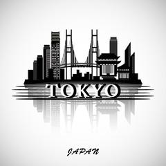 Tokyo city skyline with reflection. Typographic Design