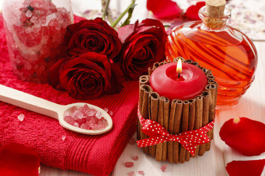 Spa set: scented candle, sea salt, liquid soap and romantic red