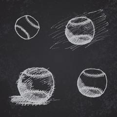 Baseball ball sketch set on blackboard
