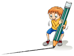 A boy drawing a line