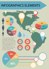 An infographics with a map