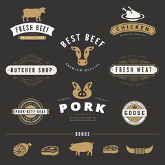 Grill BBQ Cow PIG Retro Vintage Labels Logo Hipster