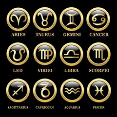 Set zodiac sign in circle frame
