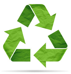 recycle symbol from crumpled paper