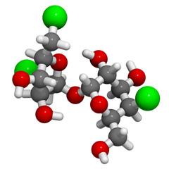 Sucralose artificial sweetener molecule.