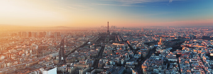 Photo sur Toile Paris Panorama of Paris at sunset