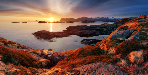 Wall Mural - Ocean mountain panorama sunset - Norway