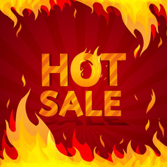Hot sale design template. Frame of fire on a bright red
