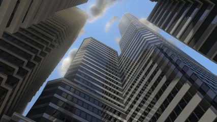 between tall buildings