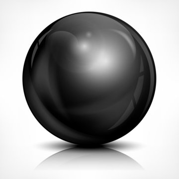 Metallic black ball on white, vector illustration