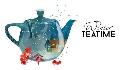 Season Tea Time. Watercolor vector painting