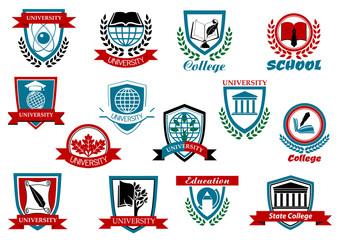 School, university or college emblems and symbols