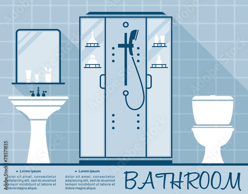 Bathroom design infographic flat template obraz w - Free online bathroom design templates ...
