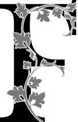 """Letter """"F"""" with floral branch"""