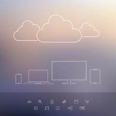 Cloud computing technology concept with laptop, smartphone