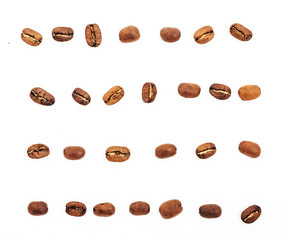 coffee beans isolated on white background. roasted coffee beans