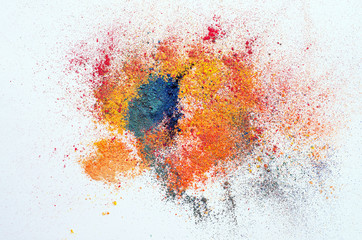 colored powder on white