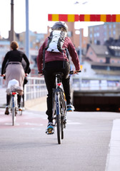 Commuters on bikes