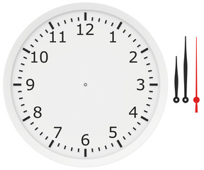 template clock with arrows and numbers isolated on a white