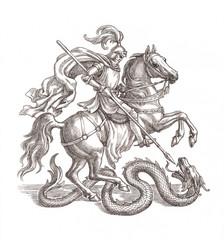 Рыцарь убивающий дракона, графика.