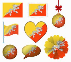 Bhutan flag set of 8 items vector