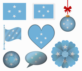 F.S. Micronesia flag set of 8 items vector
