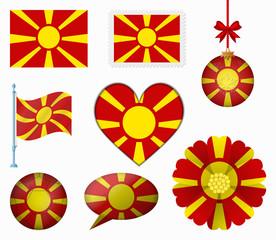 Macedonia flag set of 8 items vector