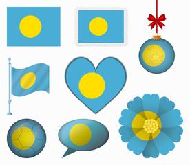 Pau flag set of 8 items vector