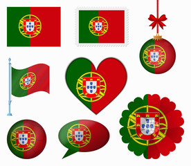 Portugal flag set of 8 items vector