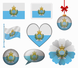 San Marino flag set of 8 items vector