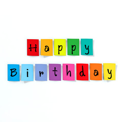happy birthday made of paper letters