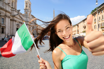 Wall Mural - Italian flag happy tourist woman in Rome, Italy