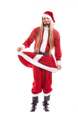Laughing positive Santa Claus with long hair isolated