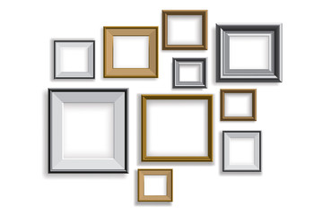 Realistic picture frames vector set illustration background
