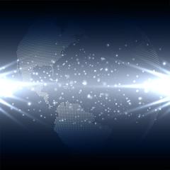 Abstract technology background with world globe, dark design