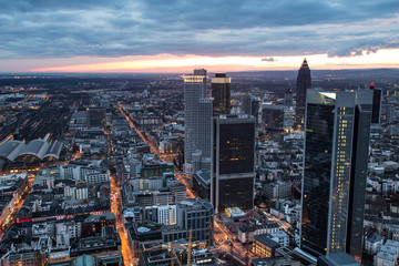 frankfurt am main germany cityscape evening