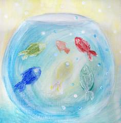 Vivid picture of aquarium and multicolored fishes