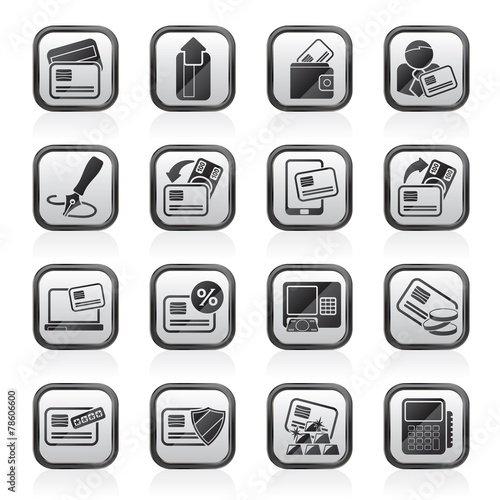 credit card pos terminal and atm icons vector icon set stock