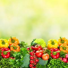 Vegetables over green background.