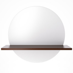 White circle with shelf