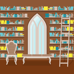 illustration. Interior of old large home library