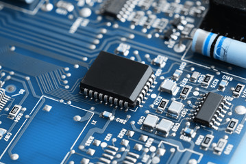 Microchips on a circuit board